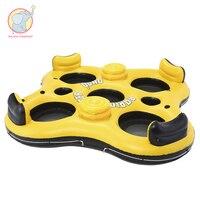 4 человек огромные надувные желтый плавающей Бассейн остров плавательный круг надувной матрас водные игрушки для детей и взрослых Детские