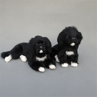 Fancytrader Cute Lifelike Animal Black Dog Plush Toy Realistic Dogs Decoration Gift 2 Models