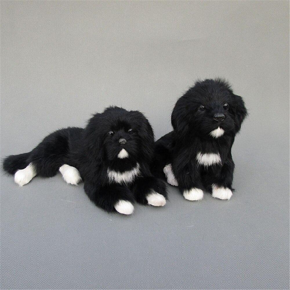 Fancytrader mignon réaliste Animal noir chien en peluche jouet réaliste chiens décoration cadeau 2 modèles Simulation terre-neuve chien jouet