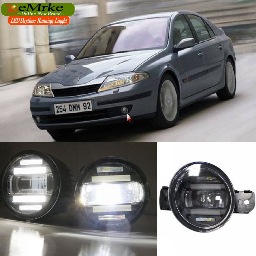 eeMrke Xenon White High Power 2in1 LED DRL Projector Fog Lamp With Lens For Renault Laguna 2 2000-2007 цена