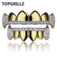 TOPGRILLZ Gold Hip Hop Teeth Grillz Micro Pave Cubic Zircon Top Bottom Vampire Fangs Teeth Grills