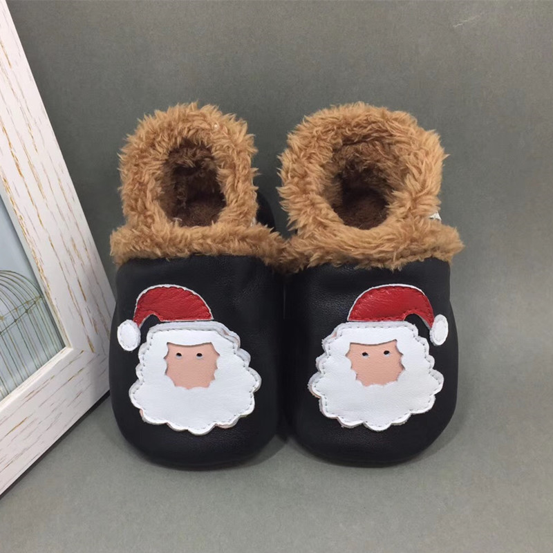 Adela Flower Thick Leather Baby Winter Shoes Toddler Moccasins Santa Claus Baby Shoes For Baby Boy Soft Sole Antislip Loafer