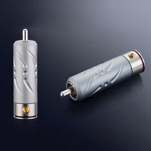 Image 1 - ויבורג אדום נחושת רודיום ציפוי Hi End RCA Plug 4 חתיכות