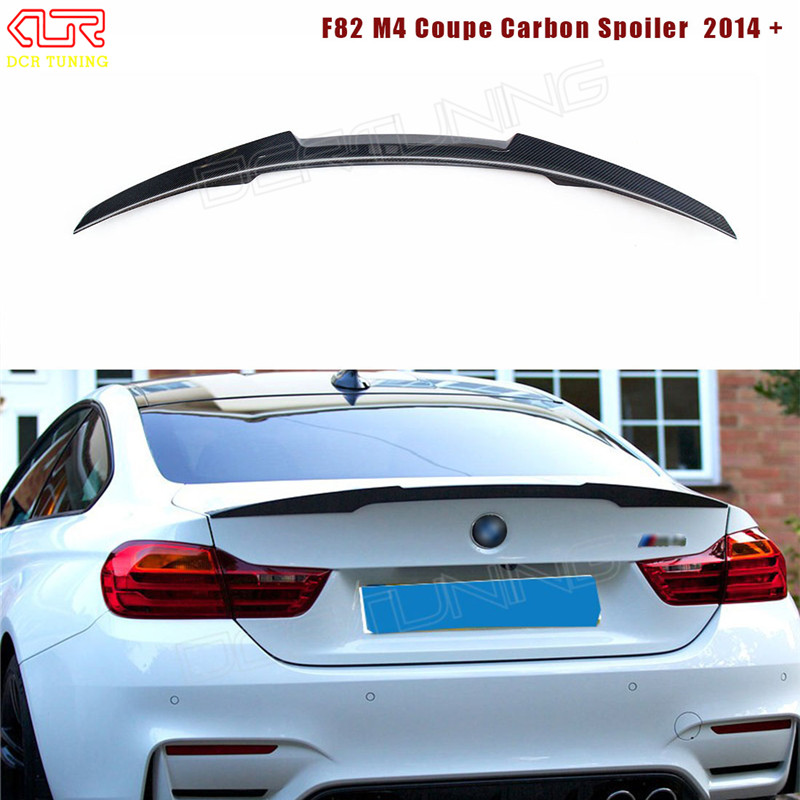 For BMW M4 Coupe F82 M4 Spoiler Carbon Fiber M Performance Style Carbon Rear Trunk Spoiler Wing 2014 - UP for vw golf 4 5 6 7 gti city canbus h7 led headlights bulb plug and play cob led car headlights auto fog lamps h7 headlamp