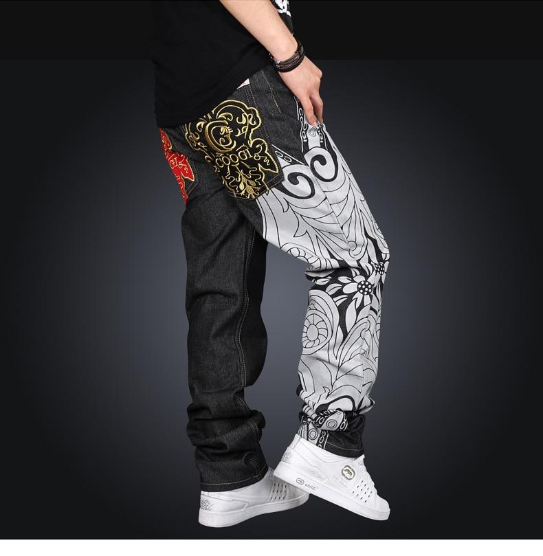 2016 Nuevo diseño 100% algodón primavera o verano moda Loose hiphop recta  Skateboard chicos Vaqueros para hombre con impresión de logotipo 2c63d5dabed
