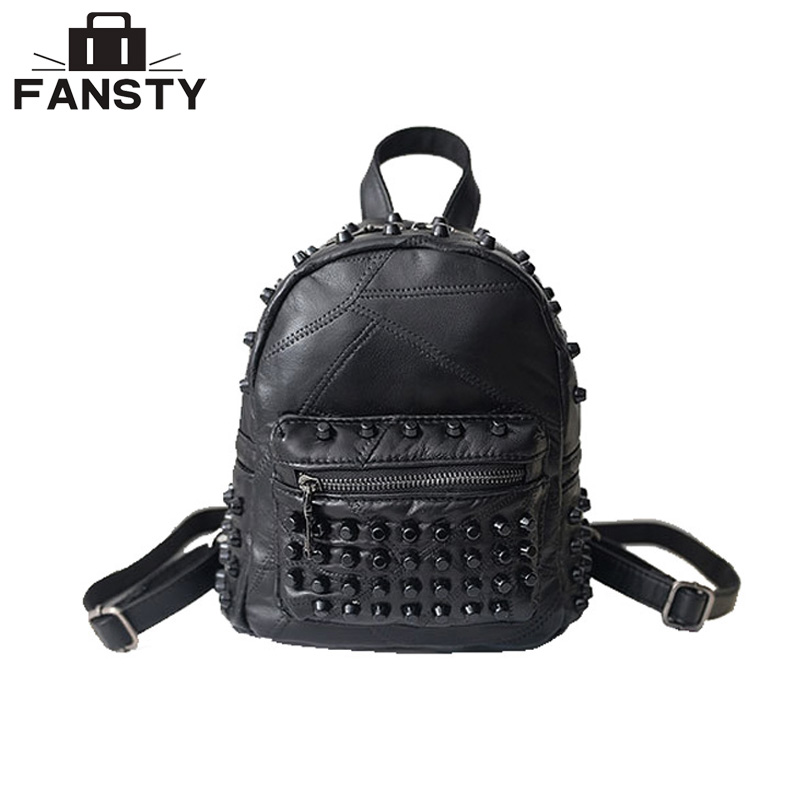 2017 High Quality New Leather Women Backpack Rock Rivet Solid Lady Knapsack Fashion Designer Female Travel School Bag For Youth