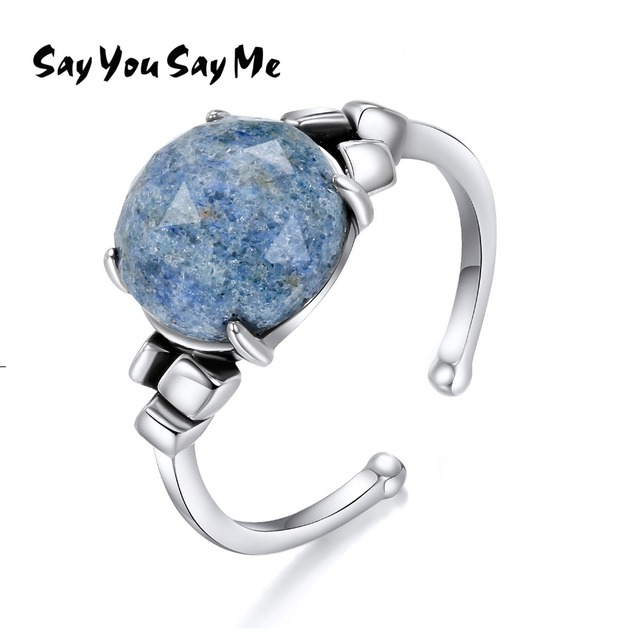 925 Sterling Silver Round Rings Wedding&Engagement Opening Natural Stone Rings W