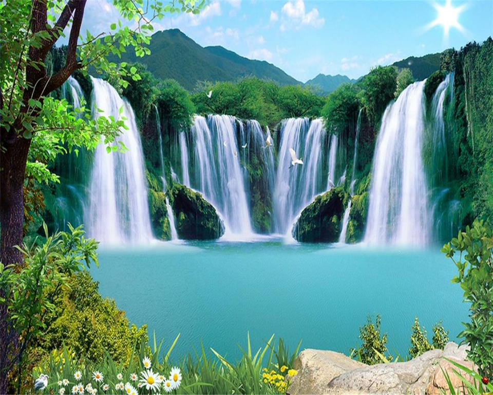 Custom 3d landscape wallpaper for walls 3 d photo natural Waterfall landscape wall TV backdrop