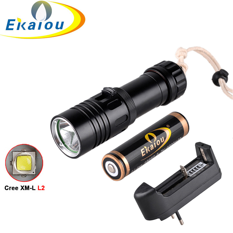 CREE XM-L2  2000LM LED Diving Flashlight Underwater Lamp Torch Waterproof Diving Flashlight & 4000mah battery + charger tinhofire 6870 cree xm l 2 2000 lumens l2 led flashlight torch light lamp micro usb input 5v charger with battery