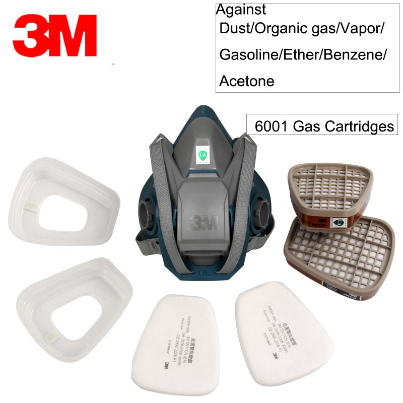 3M Mask Self-Priming Filter Anti-virus Half Mask 6502 With 6001 Spray Gas Respirator Organic Vapor Respiratory Protection GM377