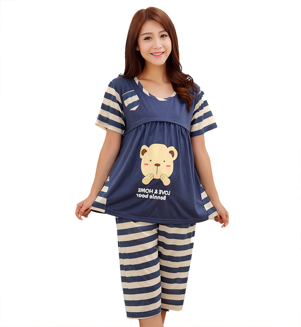 Short Sleeve nightdress Nursing Tops and pants maternity nightgowns ...