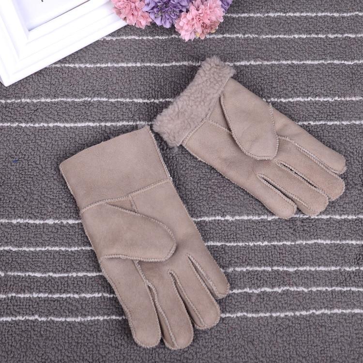 Зимние перчатки, детские перчатки с натуральным мехом для детей, толстые кожаные перчатки с кроличьим мехом, шерсть, Детские российские теплые перчатки с пятью пальцами - Цвет: khaki