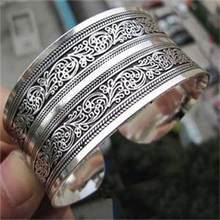 HOT Vintage Elegant Bracelets Women Tibet Silver Plated Totem Cuff Bracelets Bangles Round Metal Bracelet Jewelry Gift for Women(China)