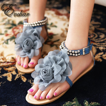 Fashion casual Sandals Women sweet Bohemia Beaded Summer Flower Flat Heels Flip Flops Women s Shoes