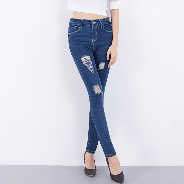 ФОТО 2017 High Waist Jeans Ladies Cotton Denim Pants Stretch Womens Bleach Ripped Jeans Skinny Denim Jeans For Female