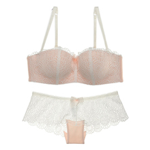 Sexy Mousse Brand Whole Sale Bra Set Women Lacy Floral Lingerie Underwear Deep Vs Gather and Panty Black Pink White 75B-85D
