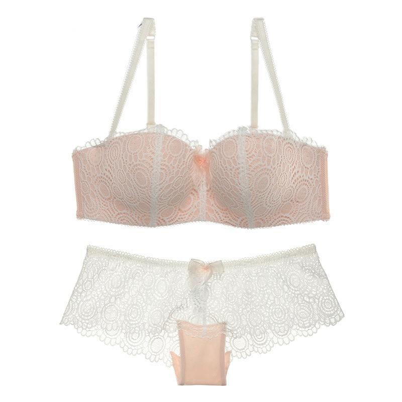 Sexy Mousse Brand Whole Sale Bra Set Women Lacy Floral Lingerie Underwear Deep Vs Gather Bra and Panty Black Pink White 75B-85D