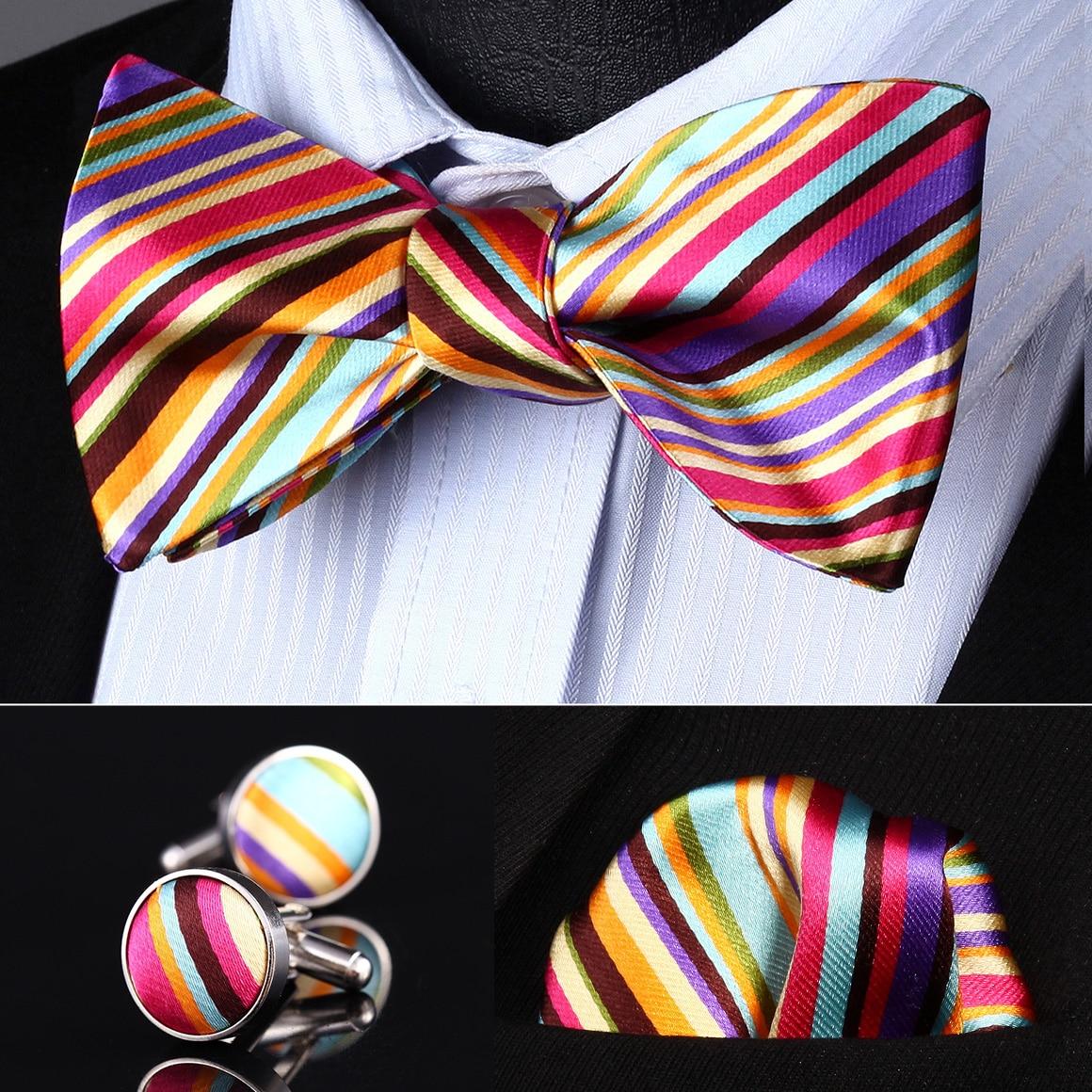 Pocket Square Classic Party Wedding BZS02N Orange Pink Striped Men Silk Self Bow Tie handkerchief Cufflinks set