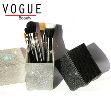 Big Diamond Leopard makeup brush holder Crystal Rhinestone set case brushes organizer container cup cosmetic
