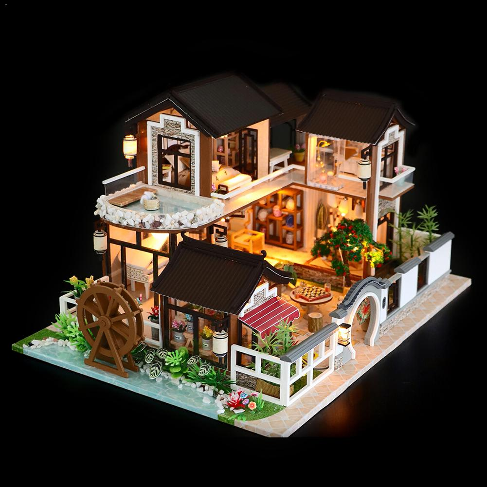 DIY Dollhouse Ancient Architecture Without Dust Cover With Furniture Wooden House Children s Toys Holiday Time