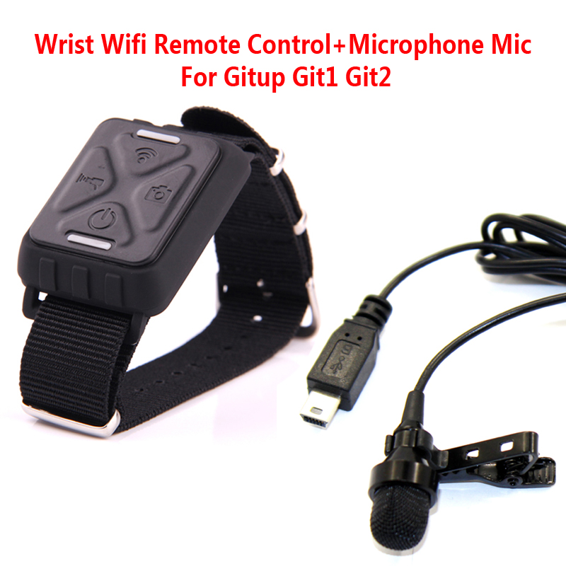 Free Shipping!!Wrist Wifi Remote Control+Microphone Mic For Gitup Git1 Git2 Sports Helemet Action Camera