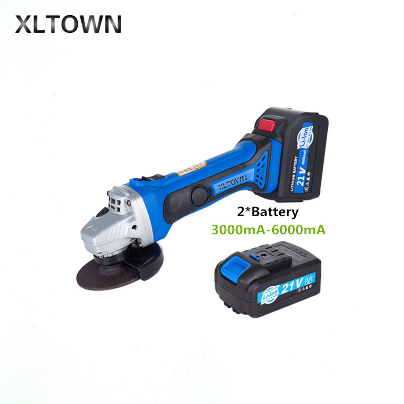 цена на XLTOWN new 21V Electric Angle Grinder Rechargeable with 2 battery Lithium Battery Angle Grinder High-quality angle edging tools