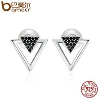 BAMOER 100 925 Sterling Silver Double Triangle Imitation Pearl Stud Earrings For Women Clear CZ Luxury