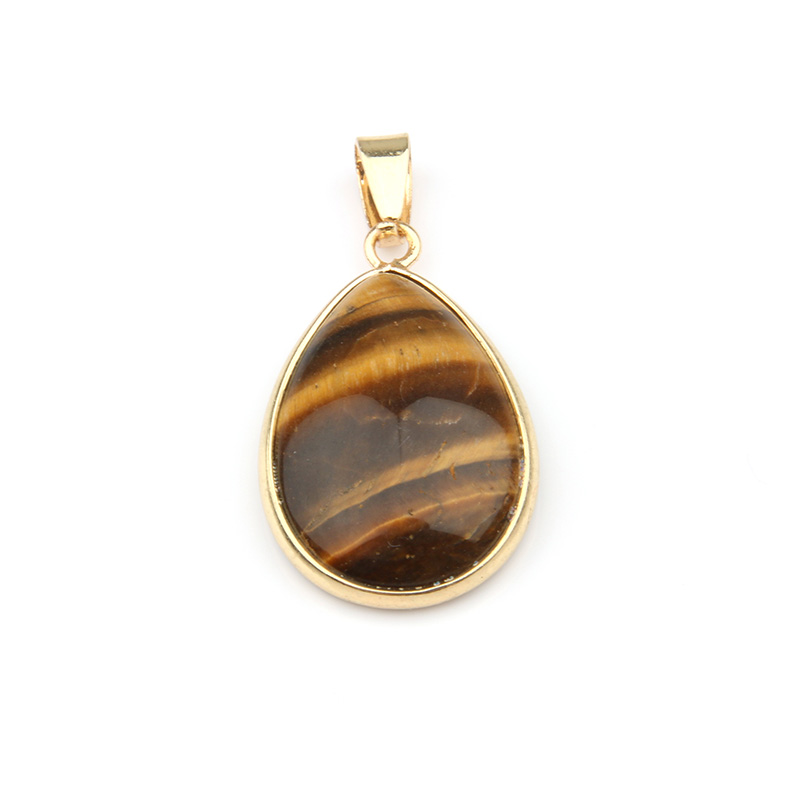 Natural Stone Pendant Water Drop Shape Pendants Agates RoseQuartz Tiger Eye Charms for Necklaces Jewelry Making 3 5 2 4 0 7cm in Pendants from Jewelry Accessories