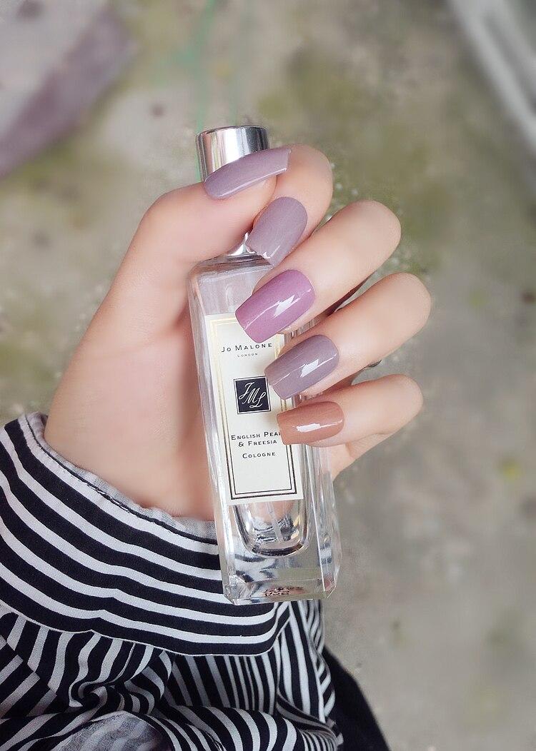 Cute milk team cream pure color fake nails Japanese french UV gel ...