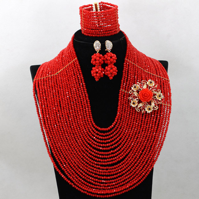 Charming Red African Costume Crystal Necklace Nigerian Wedding Bridal Beads Jewelry Chunky Birthday Beads Set Free Ship QW367Charming Red African Costume Crystal Necklace Nigerian Wedding Bridal Beads Jewelry Chunky Birthday Beads Set Free Ship QW367