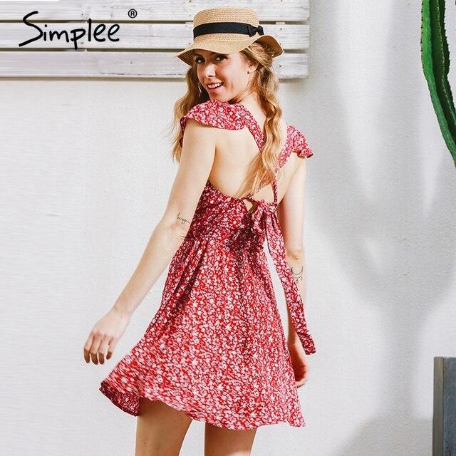 Simplee backless azul marino floral print short dress women back dress correa de cintura alta de verano rojo de la vendimia de boho beach dress vestidos