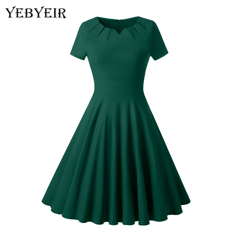 2018 New vintage solid color V-neck short sleeve knee-length A-line summer party Noble youthful women dress