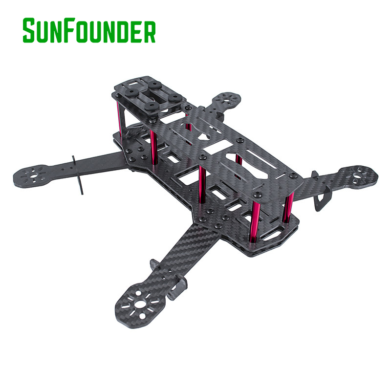 SunFounder 250mm Full Carbon Fiber FPV Mini Race Quadcopter Drone Frame Kit forF3 NAZE32 Openpilot CleanFlight BetaFlight QAV250 diy mini drone fpv race nighthawk 250 qav280 quadcopter pure carbon frame kit naze32 10dof emax mt2206ii kv1900 run with 4s