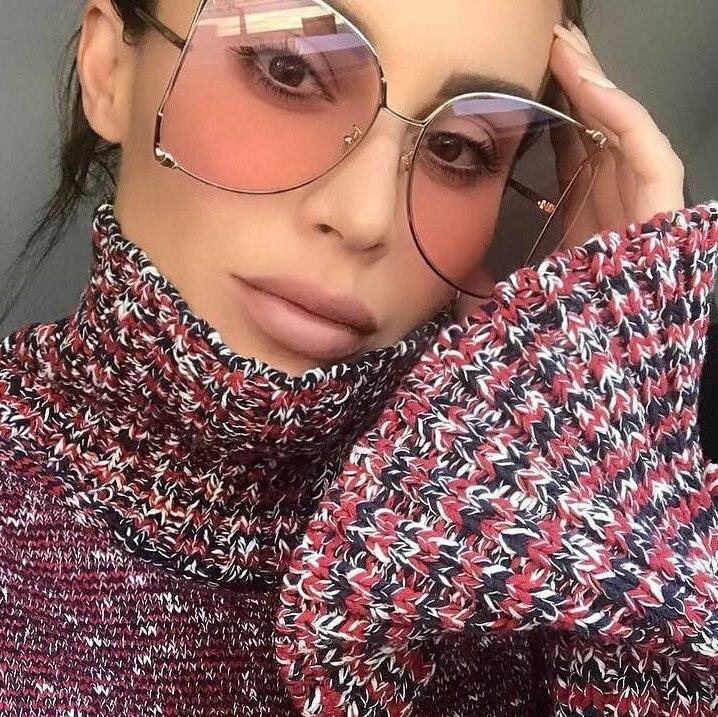 CCSPACE Metal Square Gradient Sunglasses Men Women Pearl Decoration Brand Glasses Designer Fashion Male Female Shades 45476