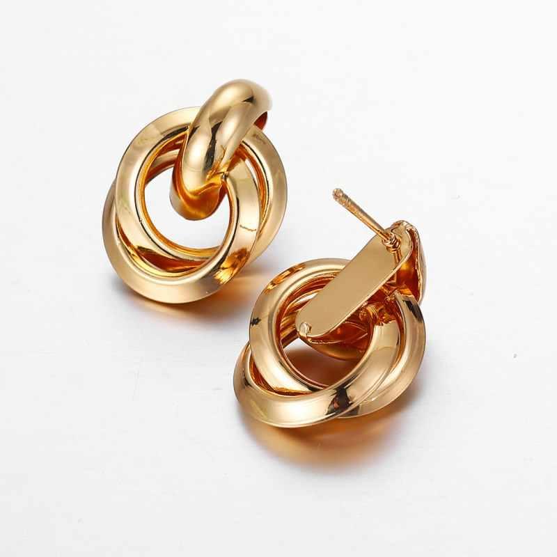 EK2202, nueva moda, pendientes de tuerca pequeños retorcidos de oro, pendiente de declaración de Metal, prisionero, clásico minimalista, joyería hermosa
