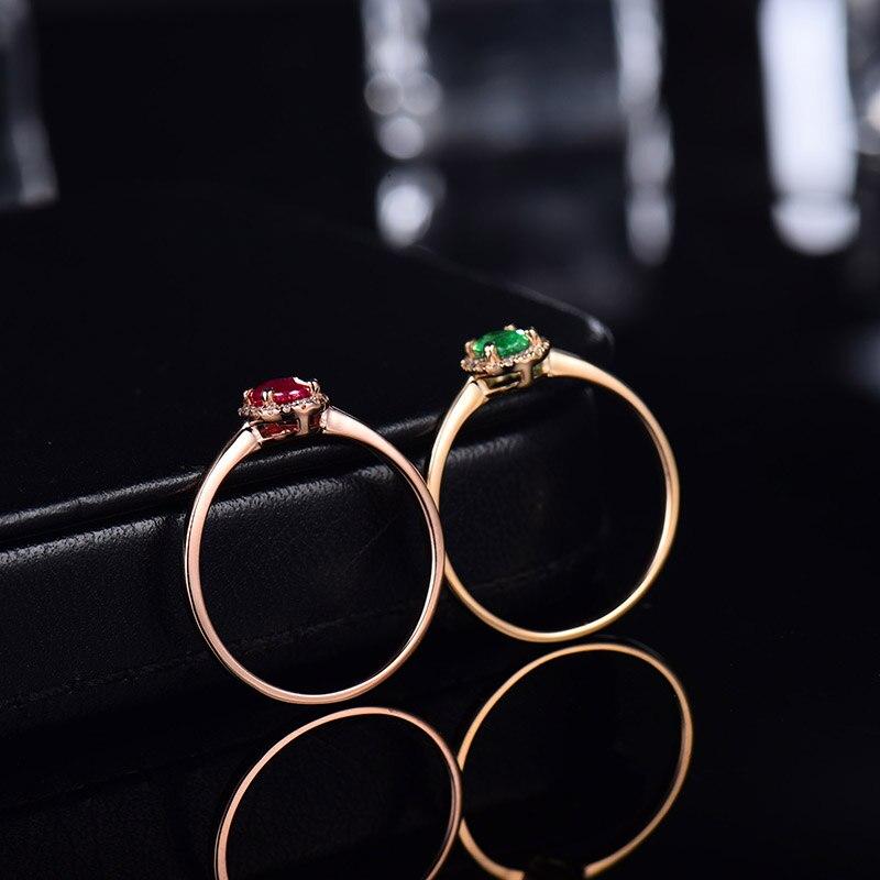 14kt or jaune anneaux pour femmes éternité amour bague de fiançailles naturel ovale émeraude rubis pierres précieuses diamants dame bijoux en Stock - 3