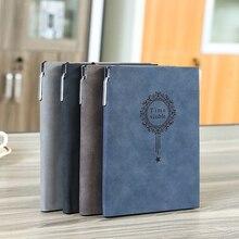 Free Make logo A5 Notebook Name Custom Leather Writing Pads Binder Black Diary O