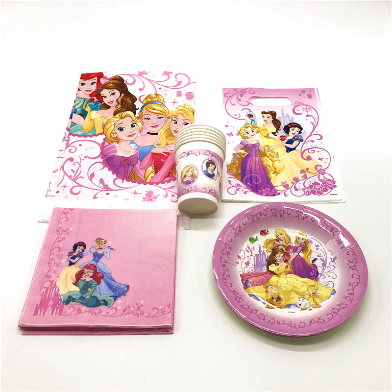 Disney Six <font><b>Princess</b></font> Theme Design 29pcs/lot Child Birthday <font><b>Party</b></font> Paper Cup Plate Napkin Gift Bag Snow White Tablecover Supply image