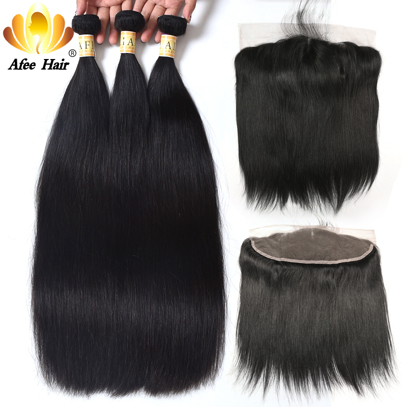 Aliafee Malaysian Straight Hair Bundles With Frontal Non Remy Hair Weave 100% Human Extension Malaysia Hair Bundles With Closure