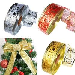 DIY Card Gift Wrapping Lace Crafts Handmade Satin Edge Organza Star Ribbon Bow Hair Wedding Christmas Decoration 200*5cm 3