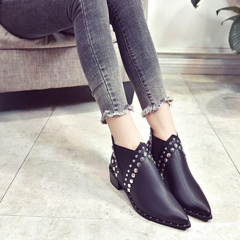 Punta Corto Alto Mujer Mcckle Black Banda Zapatos Tobillo Calzado Grueso Las Moda Elástica Remache De La Mujeres Botas Tacón qf4RP