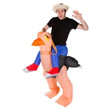Adult Kid Ostrich Inflatable Costume Halloween for Women Party Carnival Christmas Fancy Dress Outfit