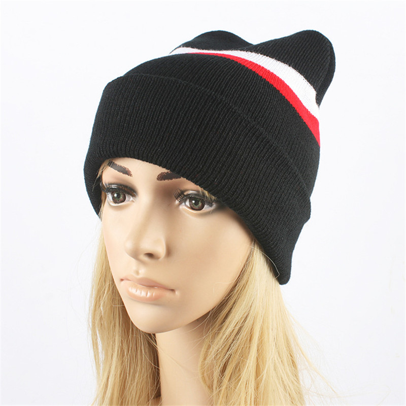 The New autumn and Winter Hat ladies fashion striped Knit Cap sleeve Head Cap Warm  Wool Hat Curling skullies  M158 ladies autumn winter felt hat vintage bowler cloche hat