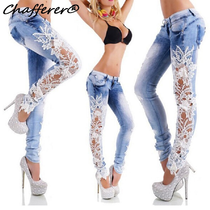 Fashion Side Spliced Lace Jeans Women Low Waist Stretch Skinny Pencil Pants Patchwork Floral Hollow out Casual Mujer Denim Pants summer boyfriend jeans for women hole ripped white lace flowers denim pants low waist mujer vintage skinny stretch jeans female