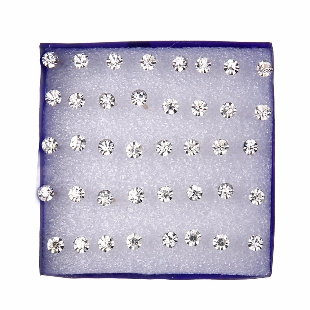 20 pairs/set White Crystal Earrings Set For Women Earring Set Jewelry Rhinestones Stud Earrings kit Pack lots brincos