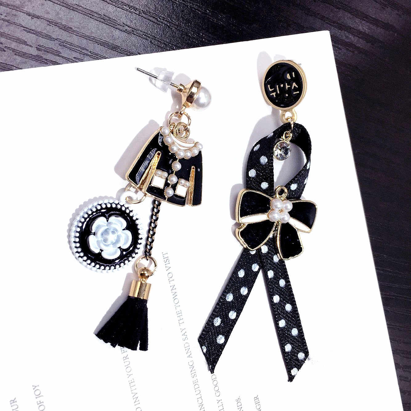 Asymmetric Creative Clothes Dot Bow Earrings Long Tassel cc Earrings Chic  Net Red Fashion Earrings 42e31a25e710