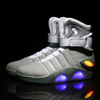 Mens Boys Light Up Sneakers Shoes Lights Ankle Boots LED Casual High Top Combat Sports Plus Size Black Gray