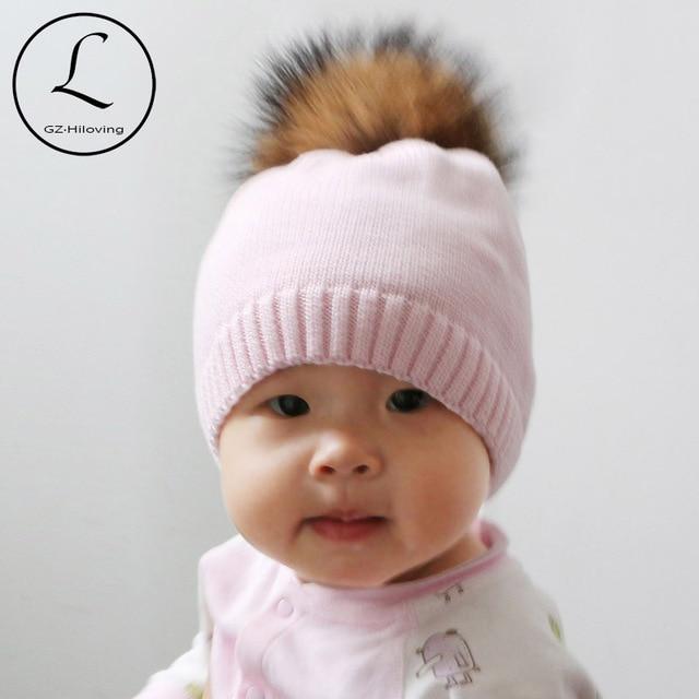 GZHILOVINGL Wholesale Winter Crochet Knitted Kids Cotton Beanies Hats Cap Toddler  Boys Girls Children Kids Real Fur PomPom Hat 692553b0fbf