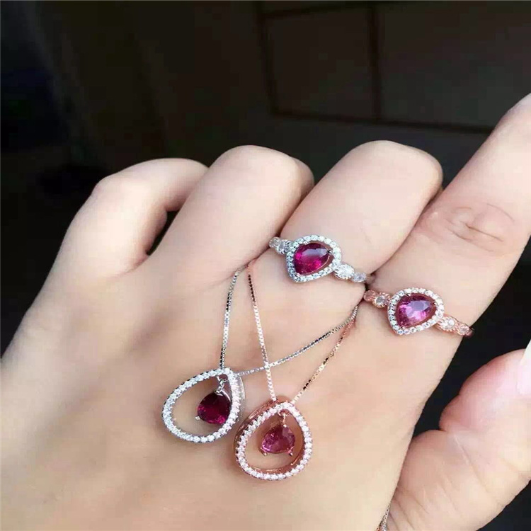 Natural Brazil treasures red tourmaline suite 925 Sterling Silver Ring + pendant jewelry set of two pieces wholesale wholesale natural powder tourmaline suite 925 inlaid sterling silver pendant ring jewelry two pieces