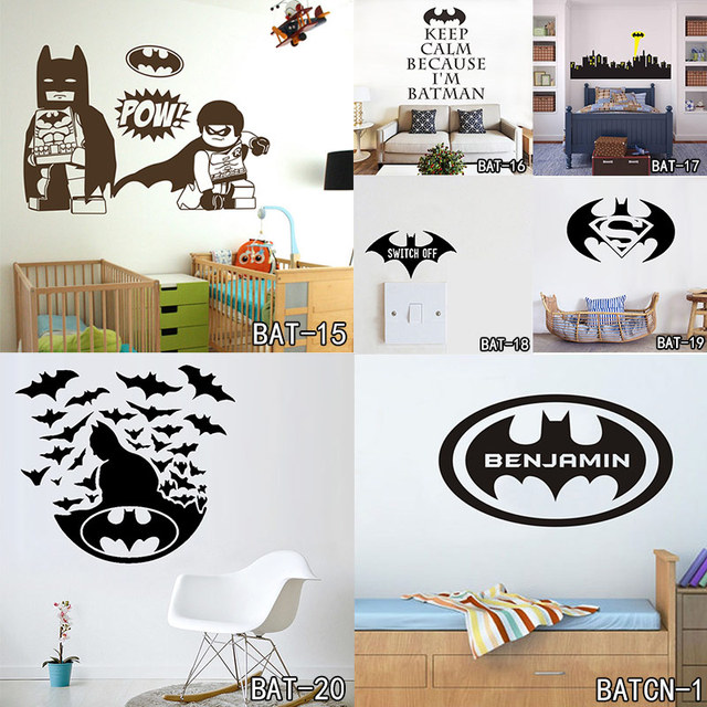 Batman customized name wall stickers home decor bat personalised super hero vinyl decal mural wallpaper graphic